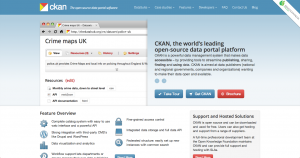 A screenshot of the CKAN website